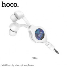 HOCO eaphones Easy clip telescopic M68-Huawei Honor 20 Pro бял