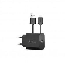 Зарядно Devia USB Type C 220V 2.1 A Black