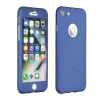 "Калъф 360"" Full Body Case + Tempered Glass - Apple iPhone 8 Plus син"