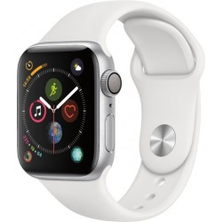 Apple Watch Series 4 GPS+Cellular 40mm Silver Aluminium Case with White Sport Band