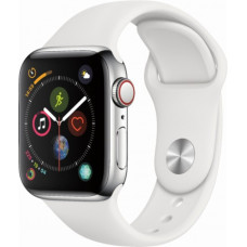 Apple Watch Series 4 GPS+Cellular 40mm Stainless Steel Case with White Sport Band