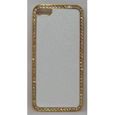 PVC-пластмасов калъф за Apple iPhone 5 бял със златна рамка