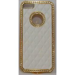 PVC-пластмасов калъф за Apple iPhone 5 бял със златно