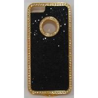 PVC-пластмасов калъф за Apple Iphone 5 блестящ черен със златно