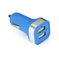 Зарядно устройство за кола (2xUSB) синьо - Huawei Honor 8 Lite